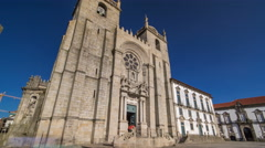 Porto Cathedral or Se Catedral do Porto timelapse hyperlapse. Romanesque and Stock Footage