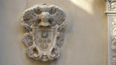 Stock Video Footage of Bas relief on the facade of Peles Castle