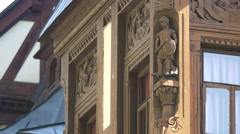 Stock Video Footage of Knight on a pedestal sculpted in wood on a corner of Peles Castle