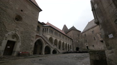 Courtyard at Corvin Castle, Hunedoara Stock Footage