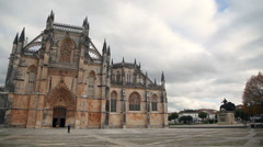 Pan of Monastery of Batalha, Portugal Stock Footage