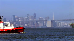 San Francisco Skyline Bay Bridge Tug Boat Freighter Stock Footage