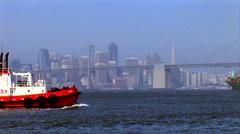 San Francisco Skyline Bay Bridge Tug Boat Freighter Stock Footage