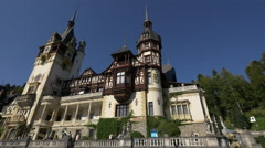Imposing view of Peles Castle - stock footage