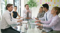 4k Confident business group in negotiation meeting shake hands on a deal. Stock Footage