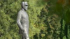King Carol I statue at Peles Castle - stock footage