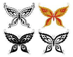 Butterflies with abstract pattern Stock Illustration