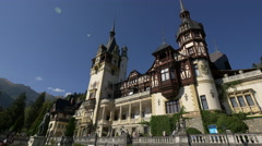 Tourists walking in front of Peles Castle Stock Footage