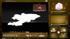kyrgyzstan - computer monitor - yellow 0 - stock footage