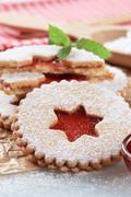 Christmas shortbread cookies with jam filling - detail Stock Photos