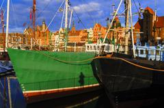 The Port of Gdansk in the morning sun Stock Photos