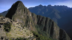 High angle view of Machu Picchu, Cusco Region, Urubamba Province, Machupicchu Stock Footage