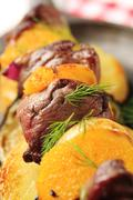 Macro shot of red meat shish kebab - stock photo
