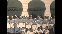 Vintage 16mm film, 1948, Quebec, Tadoussac Hotel staff - stock footage