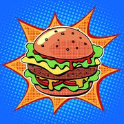 Fast food Burger with sesame meat salad and cheese - stock illustration