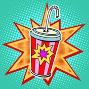 Cola paper cup straw fast food - stock illustration