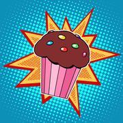 Muffin cake sweet food - stock illustration