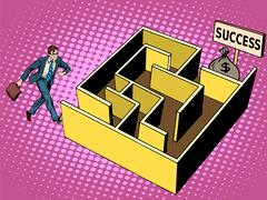 Stock Illustration of The labyrinth path to success business concept
