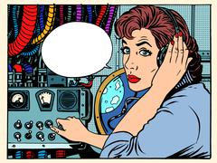 Girl radio space communications with astronauts Stock Illustration