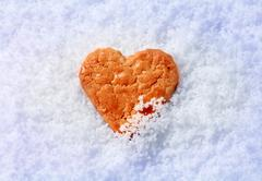 Single heart shaped cookie in snow - detail - stock photo
