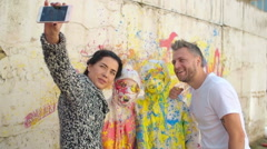 Selfie with Art Participants - stock footage