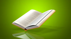 Book green background Stock Footage