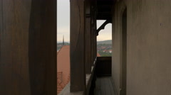 Narrow balcony at Corvin Castle, Hunedoara Stock Footage