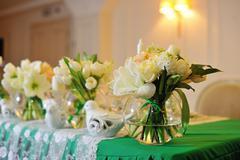 The decor of flowers of the wedding ceremony Stock Photos
