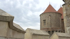 Defence tower at Corvin Castle, Hunedoara Stock Footage