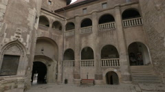 Tilt view of the courtyard of Corvin Castle, Hunedoara Stock Footage