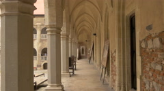 Corridor across the inner yard at Corvin Castle, Hunedoara Stock Footage
