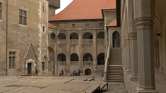 Wood stage in the inner court of Corvin Castle, Hunedoara Stock Footage
