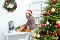 Preparing gifts for holiday - stock photo