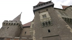Beautiful facade of Corvin Castle, Hunedoara Stock Footage