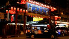The main gate of Chinatown at Petaling Street at night Stock Footage