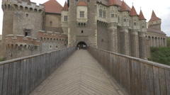 Tilt un view of the Corvin Castle, Hunedoara Stock Footage