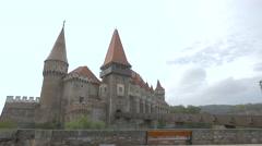 Amazing view of the Corvin Castle, Hunedoara Stock Footage