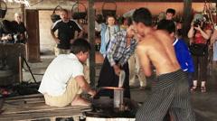 Men Forged Iron Inle Lake Stock Footage