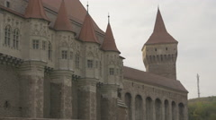 The gothic facade of the Corvin Castle, Hunedoara Stock Footage