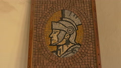 Stock Video Footage of Mosaic portrait of a knight at Corvin Castle, Hunedoara