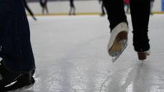 Recreational skating on icerink Stock Footage
