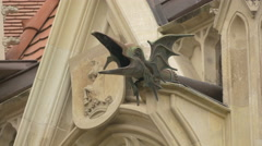 Dragon decoration and the coat of arms carved at Corvin Castle, Hunedoara Stock Footage