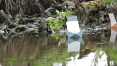Paper boat floating on the water surrounded by clouds of insects 141 Stock Footage