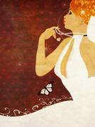 Grunge beautiful bride - stock illustration