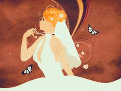 Grunge beautiful bride - stock illustration
