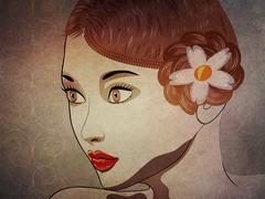 Grunge brunette portrait - stock illustration