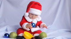 Little Santa Claus on a white background - stock footage