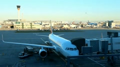 Unloading cargo from the aircraft on the runway at the airport Stock Footage