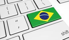 Brazilian Flag On Computer Key - stock illustration