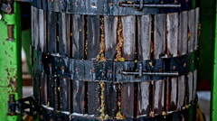 Grape press device close up Stock Footage